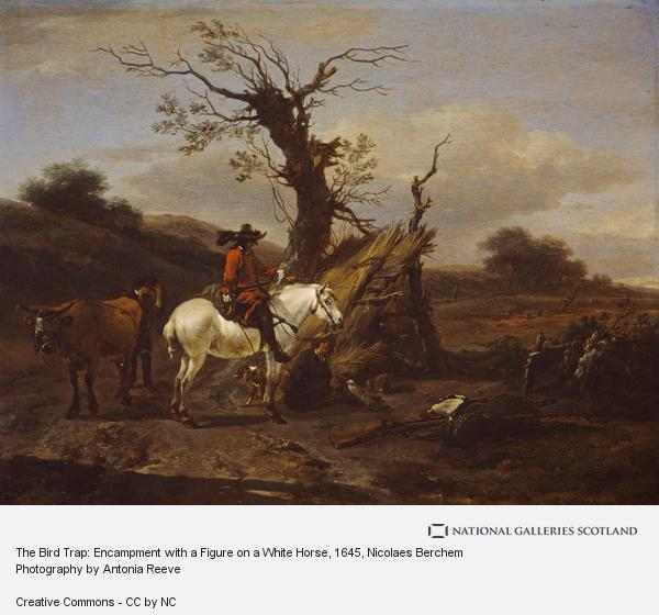 Nicolaes Berchem, The Bird Trap: Encampment with a Figure on a White Horse