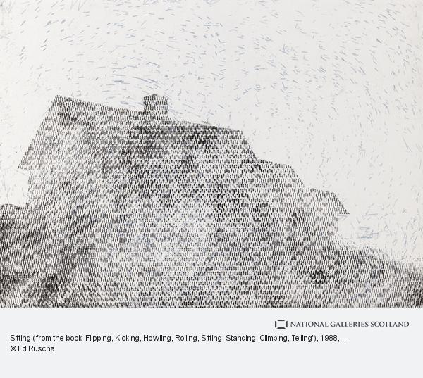 Ed Ruscha, Sitting (from the book 'Flipping, Kicking, Howling, Rolling, Sitting, Standing, Climbing, Telling') (1988)