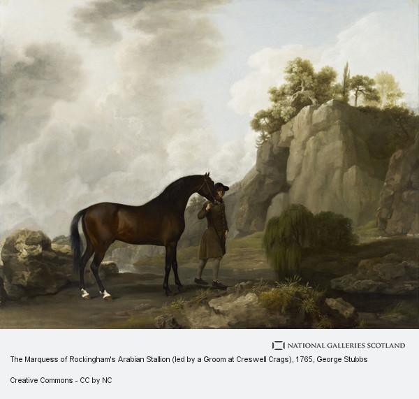 George Stubbs, The Marquess of Rockingham's Arabian Stallion (led by a Groom at Creswell Crags)