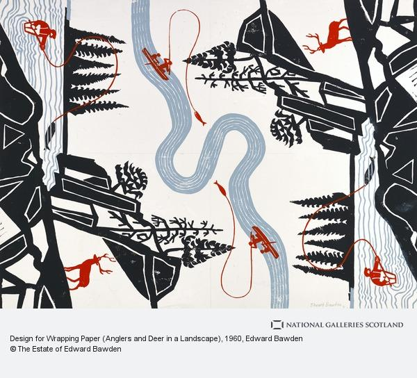 Edward Bawden, Design for Wrapping Paper (Anglers and Deer in a Landscape)