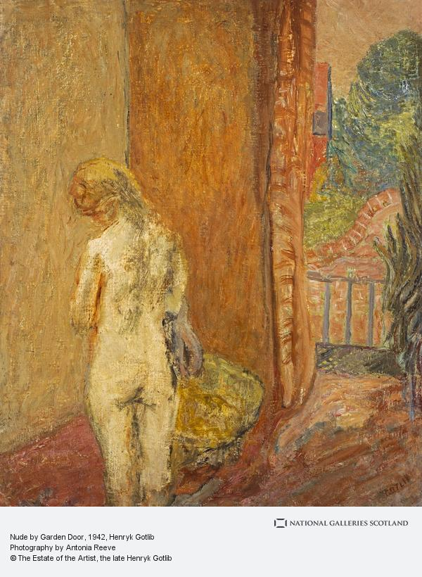 Henryk Gotlib, Nude by Garden Door
