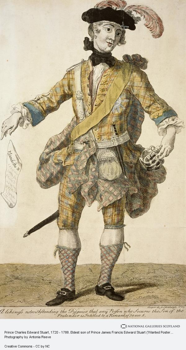 Richard Cooper, the Elder, Prince Charles Edward Stuart, 1720 - 1788. Eldest son of Prince James Francis Edward Stuart ('Wanted Poster') (1745)