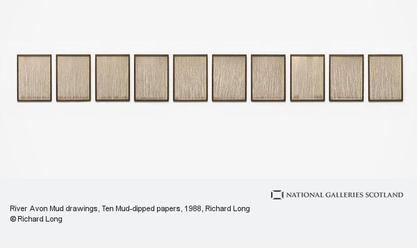 Richard Long, River Avon Mud drawings, Ten Mud-dipped papers (1988)