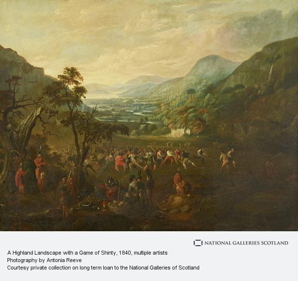 Daniel Cunliffe, A Highland Landscape with a Game of Shinty