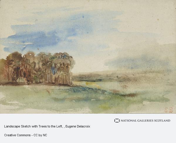 Eugene Delacroix, Landscape Sketch with Trees to the Left