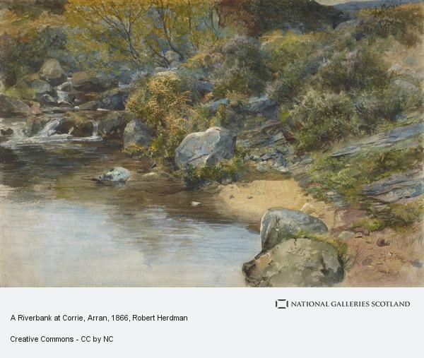 Robert Herdman, A Riverbank at Corrie, Arran (1866)