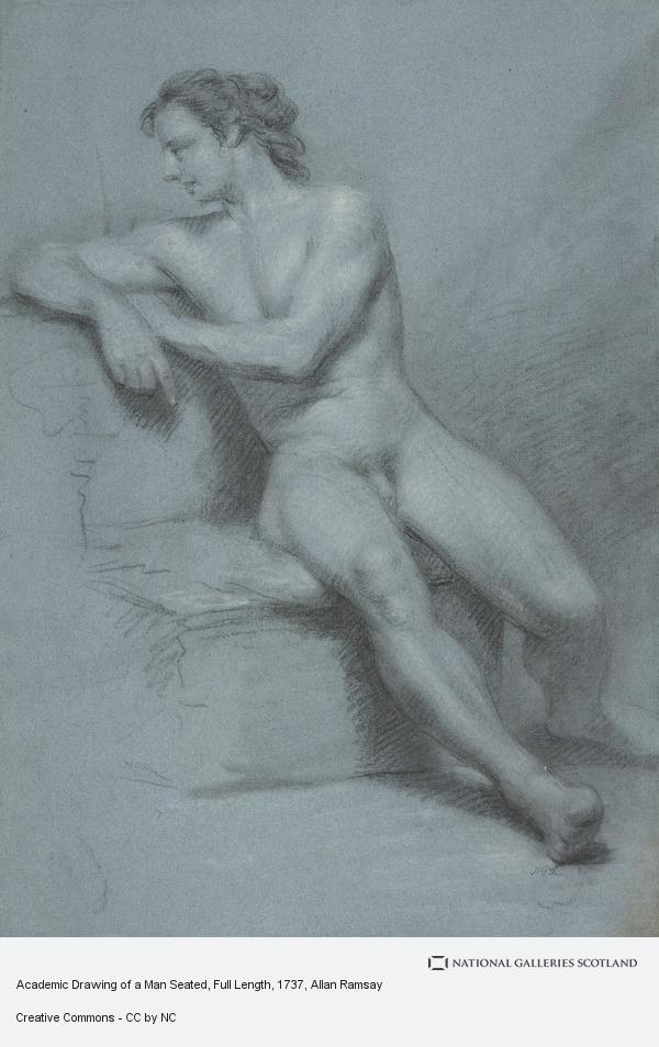 Allan Ramsay, Academic Drawing of a Man Seated, Full Length