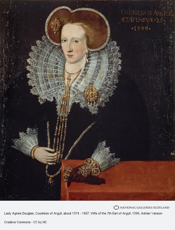 Adrian Vanson, Lady Agnes Douglas, Countess of Argyll, about 1574 - 1607. Wife of the 7th Earl of Argyll