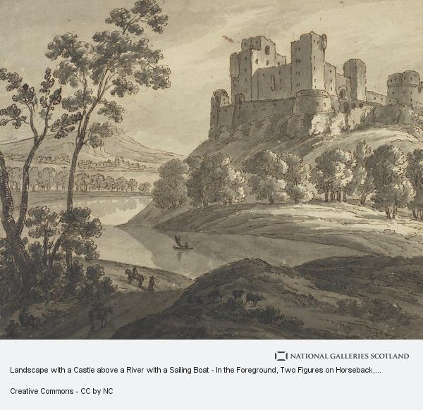 Robert Adam, Landscape with a Castle above a River with a Sailing Boat - In the Foreground, Two Figures on Horseback, Another Walking