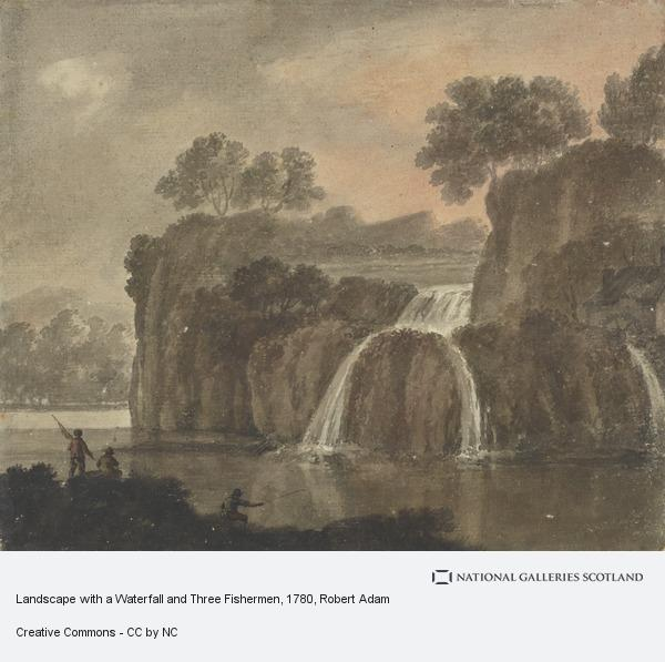 Robert Adam, Landscape with a Waterfall and Three Fishermen