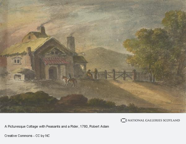 Robert Adam, A Picturesque Cottage with Peasants and a Rider