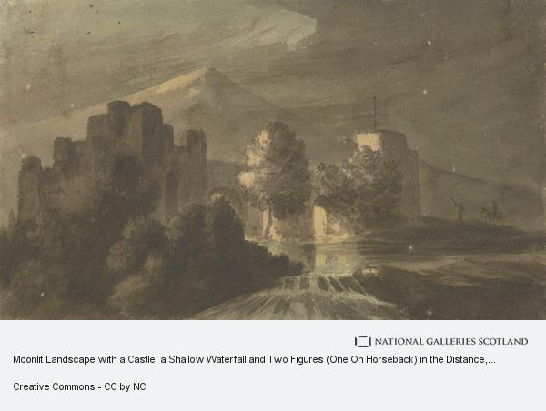 Robert Adam, Moonlit Landscape with a Castle, a Shallow Waterfall and Two Figures (One On Horseback) in the Distance
