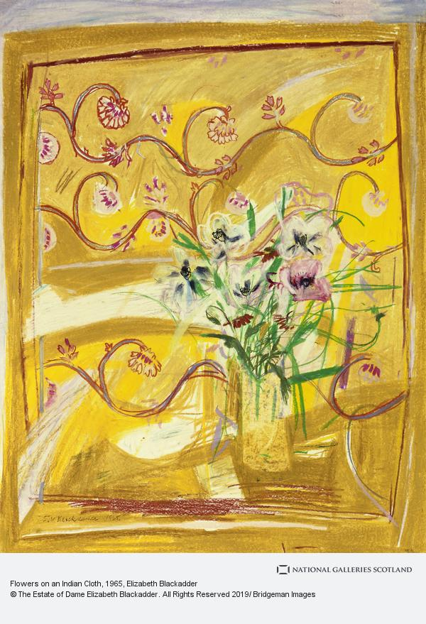 Elizabeth Blackadder, Flowers on an Indian Cloth (1965)