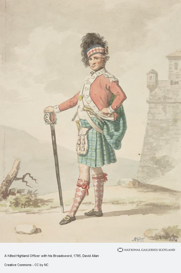 David Allan, A Kilted Highland Officer with his Broadsword