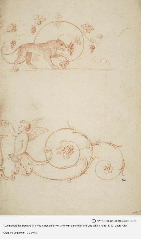 David Allan, Two Decorative Designs in a Neo-Classical Style, One with a Panther and One with a Putto