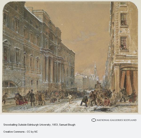 Samuel Bough, Snowballing Outside Edinburgh University (Dated 1853)