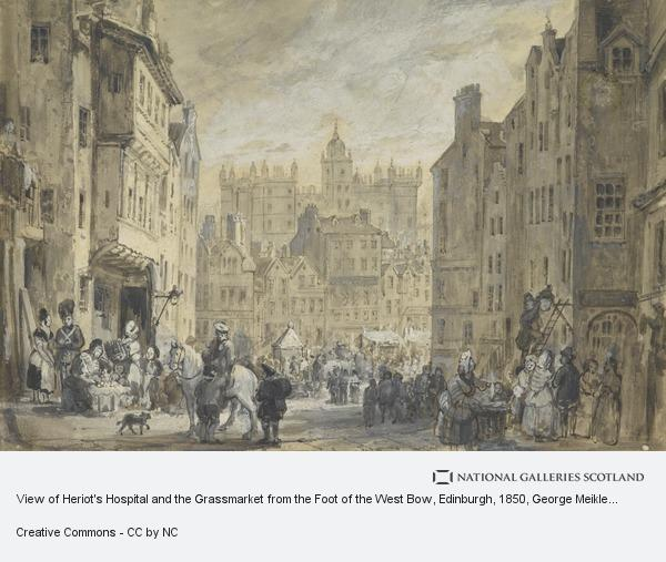 George Meikle Kemp and William Bonnar, View of Heriot's Hospital and the Grassmarket from the Foot of the West Bow, Edinburgh
