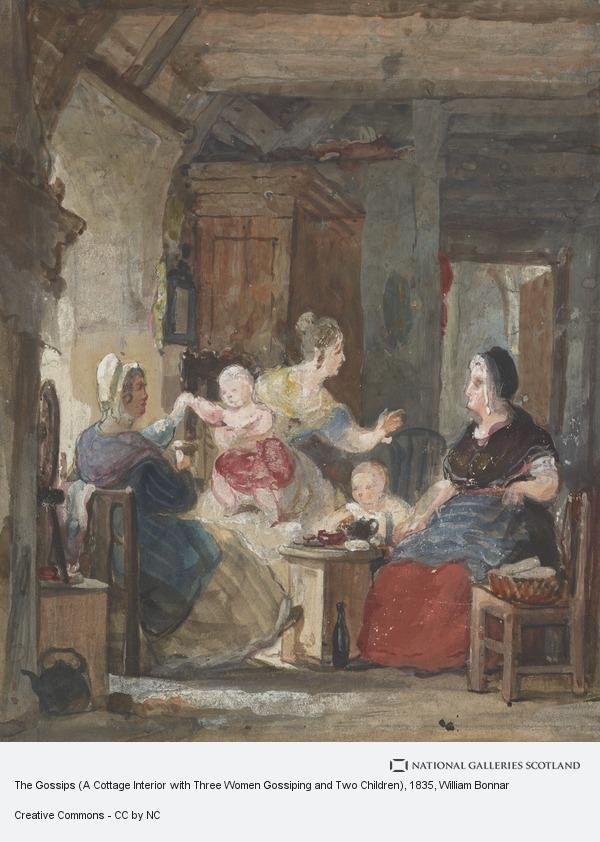 William Bonnar, The Gossips (A Cottage Interior with Three Women Gossiping and Two Children)