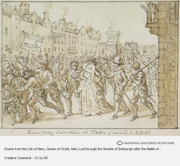 David Allan, Scene from the Life of Mary, Queen of Scots. Mary Led through the Streets of Edinburgh after the Battle of Carberry Hill