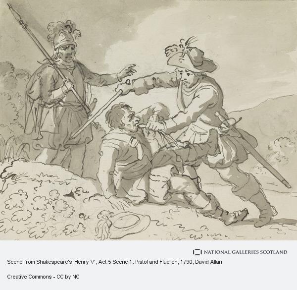 David Allan, Scene from Shakespeare's 'Henry V', Act 5 Scene 1. Pistol and Fluellen