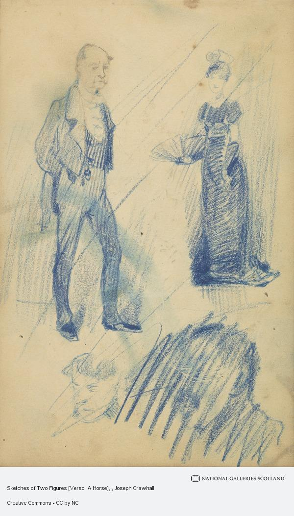 Joseph Crawhall, Sketches of Two Figures [Verso: A Horse]