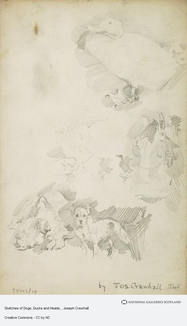 Joseph Crawhall, Sketches of Dogs, Ducks and Heads