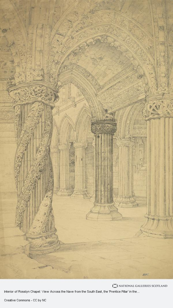 Robert Gibb, Interior of Rosslyn Chapel: View Across the Nave from the South East, the 'Prentice Pillar' in the Foreground