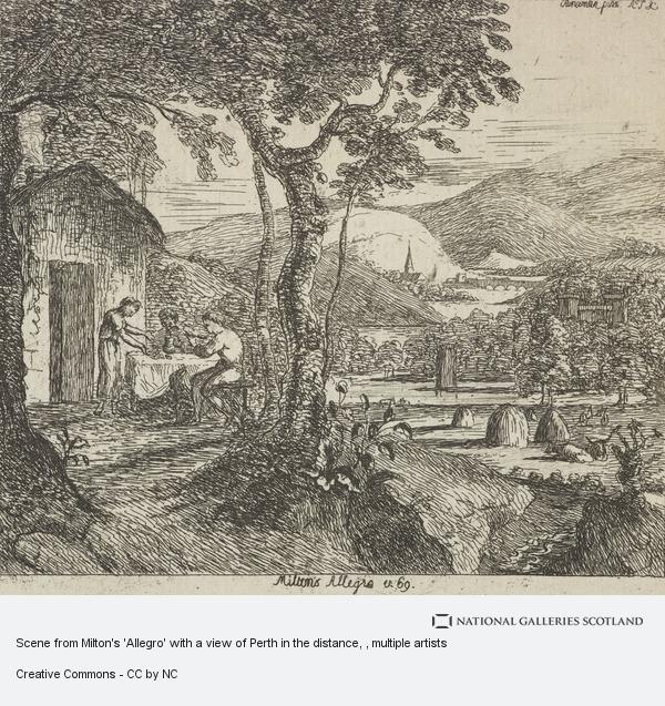 John Clerk, Scene from Milton's 'Allegro' with a view of Perth in the distance