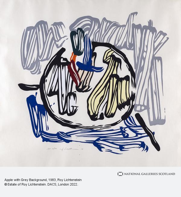 Roy Lichtenstein, Apple with Grey Background