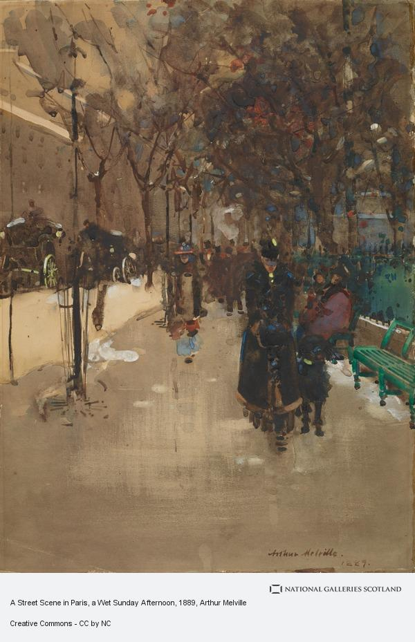 Arthur Melville, A Street Scene in Paris, a Wet Sunday Afternoon