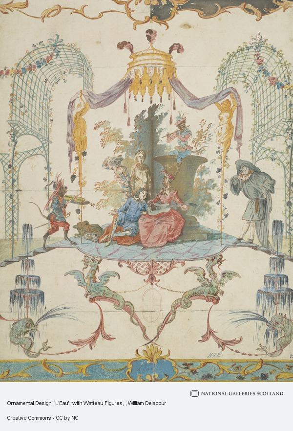 William Delacour, Ornamental Design: 'L'Eau', with Watteau Figures