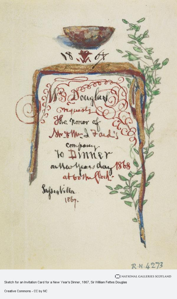 sir william fettes douglas sketch for an invitation card for a new years dinner