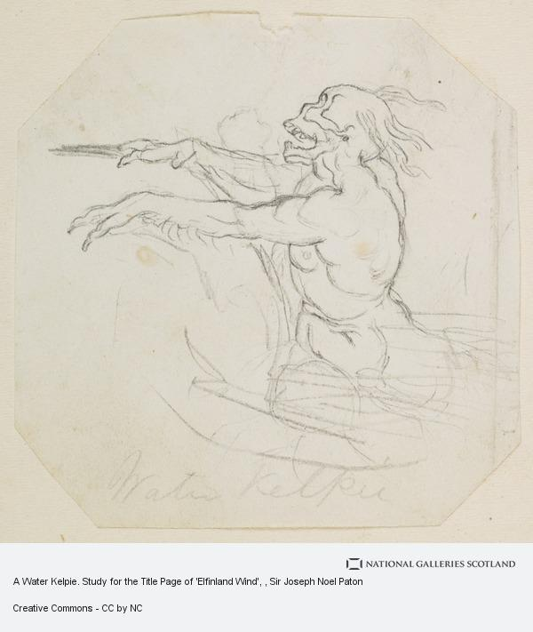 Sir Joseph Noel Paton, A Water Kelpie. Study for the Title Page of 'Elfinland Wind'