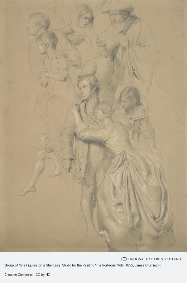 James Drummond, Group of Nine Figures on a Staircase. Study for the Painting 'The Porteous Mob'