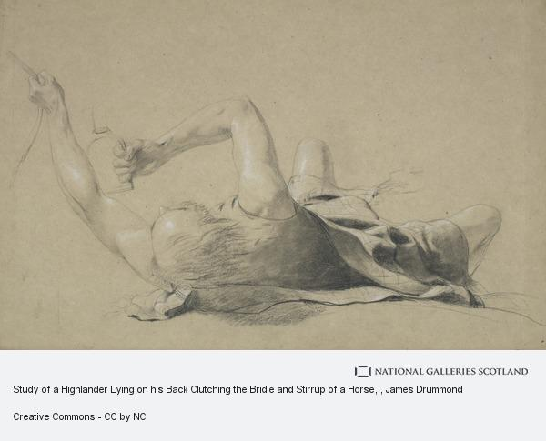 James Drummond, Study of a Highlander Lying on his Back Clutching the Bridle and Stirrup of a Horse