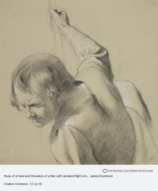 James Drummond, Study of a Head and Shoulders of a Man with Upraised Right Arm