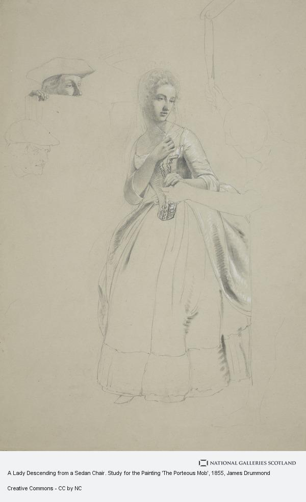 James Drummond, A Lady Descending from a Sedan Chair. Study for the Painting 'The Porteous Mob'