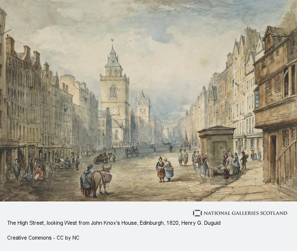 Henry Gibson Duguid, The High Street, looking West from John Knox's House, Edinburgh (early 1820s)