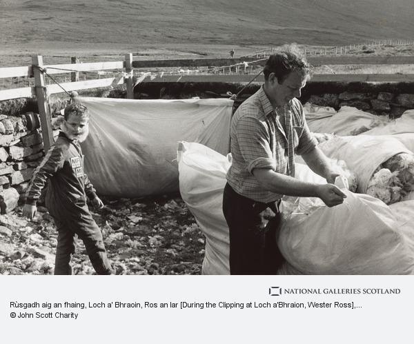 John Charity, Rùsgadh aig an fhaing, Loch a' Bhraoin, Ros an Iar [During the Clipping at Loch a'Bhraion, Wester Ross] (Taken 1988, print made 1992)