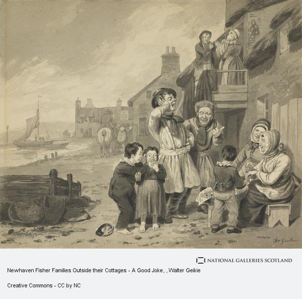 Walter Geikie, Newhaven Fisher Families Outside their Cottages - A Good Joke