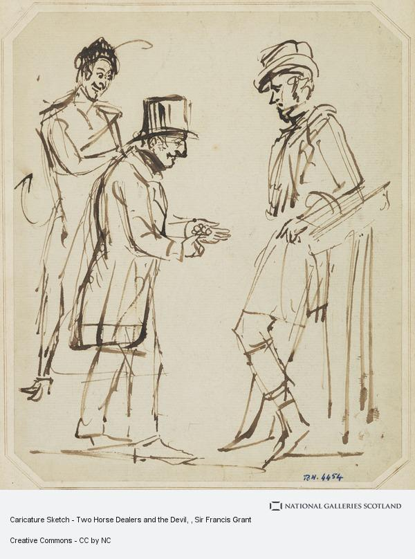 Sir Francis Grant, Caricature Sketch - Two Horse Dealers and the Devil