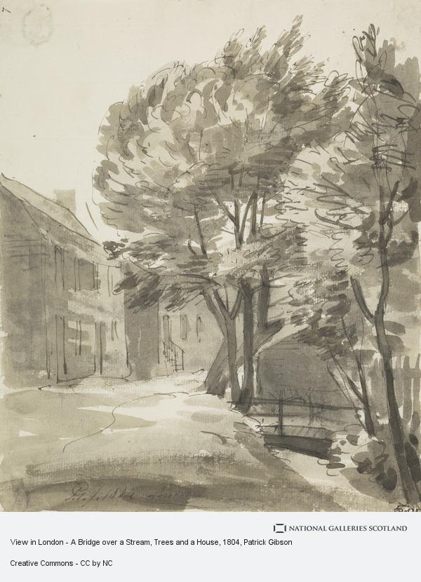 Patrick Gibson, View in London - A Bridge over a Stream, Trees and a House