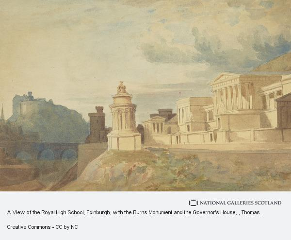 Thomas Hamilton, A View of the Royal High School, Edinburgh, with the Burns Monument and the Governor's House
