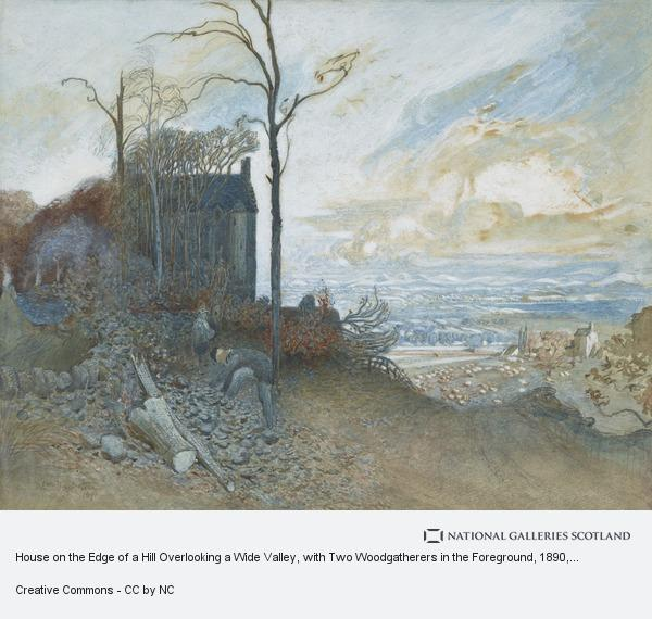 William Hackstoun, House on the Edge of a Hill Overlooking a Wide Valley, with Two Woodgatherers in the Foreground