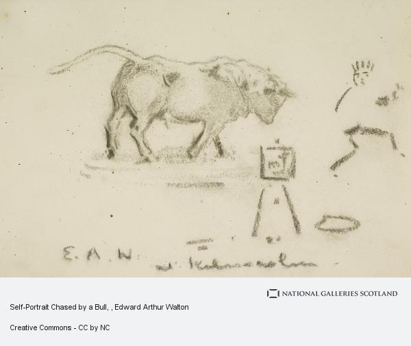 Edward Arthur Walton, Self-Portrait Chased by a Bull