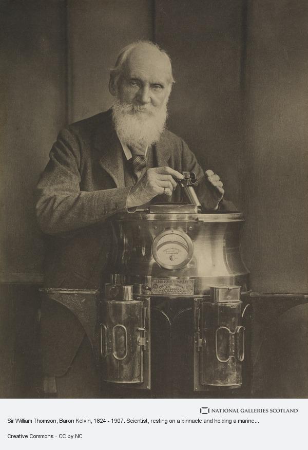 T. & R. Annan & Sons, Sir William Thomson, Baron Kelvin, 1824 - 1907. Scientist, resting on a binnacle and holding a marine azimuth mirror