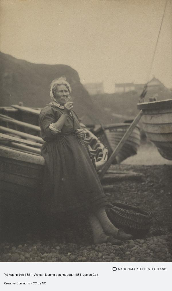 James Cox, 'At Auchmithie 1881'. Woman leaning against boat (1881)