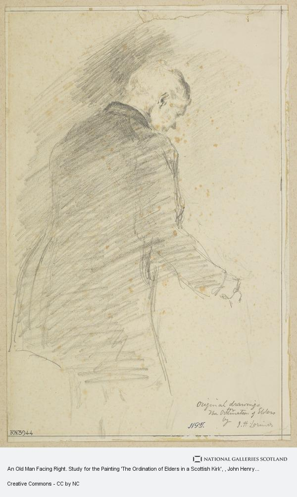 John Henry Lorimer, An Old Man Facing Right. Study for the Painting 'The Ordination of Elders in a Scottish Kirk'
