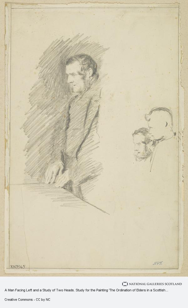 John Henry Lorimer, A Man Facing Left and a Study of Two Heads. Study for the Painting 'The Ordination of Elders in a Scottish Kirk'