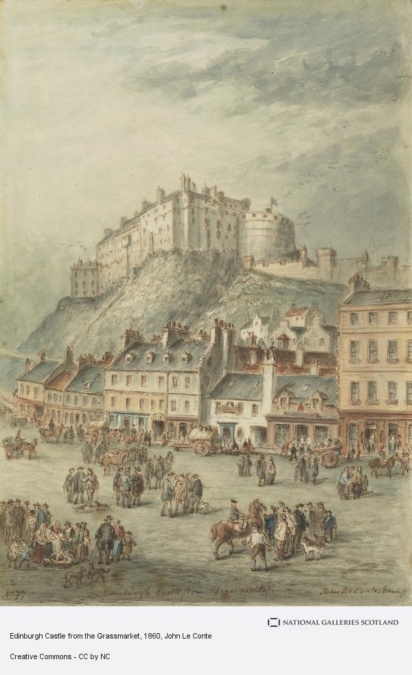 John Le Conte, Edinburgh Castle from the Grassmarket (1860)